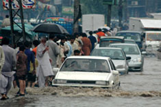 Photo of flooding in Lahore, Pakistan. It was used in one of several simulation scenarios created by CIESIN as part of a day-long exercise for a workshop in Prague October 11-14 on new environment-security linkages.