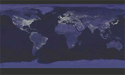 Map showing night-time light throughout the world.
