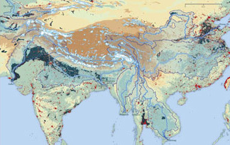 The map depicts glaciers in the Himalayas and the major rivers that flow from them.