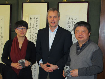 CIESIN Alex de Sherbinin (center) with director of the National Research Center for Resettlement, Shi Guoqing (right), and vice director, Chen Shaojun (left), Nanjing, China, February 27, 2014.
