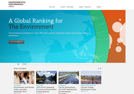 Screen Shot of the Web site for the Environmental Performance Index