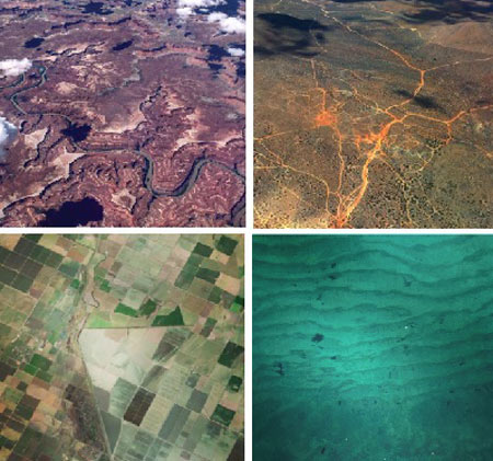Aerial images of four areas, from left to right clockwise: arid river system, road network, farming network and lake
