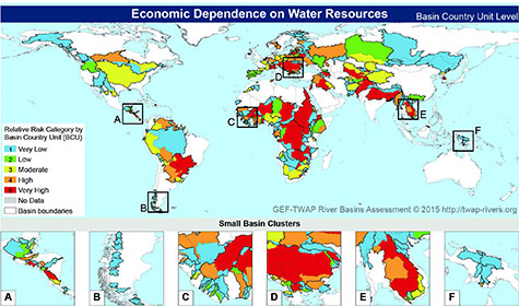 Map of transboundary economic dependence on water resources