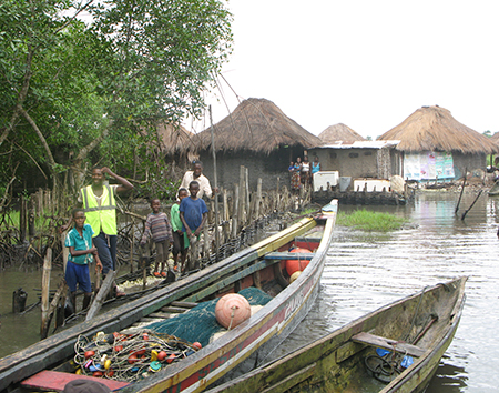 Fishing village within mangrove forest in the Sherbro region of Sierra Leone