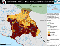 Map of potential erosion risk in Port-a-Piment River Basin area of Haiti