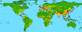 map of zoonotic pathogens passed from wildlife to human